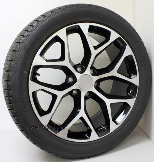 "New Set of 4 Black and Machine 22"" Snowflake Wheels with Bridgestone Dueler Alenza Tires for GMC Trucks or SUVs"
