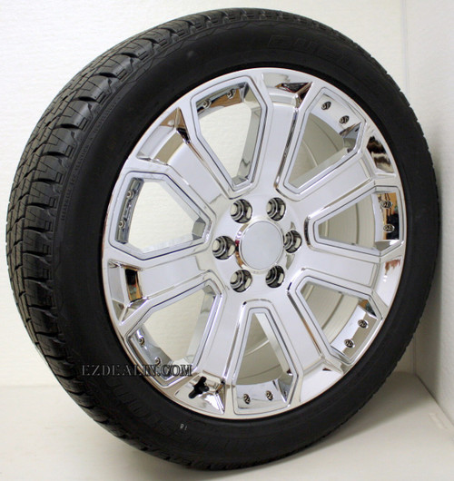 "Chrome 22"" With Chrome Inserts Wheels with Bridgestone Tires for GMC Sierra, Yukon, Denali - New Set of 4"