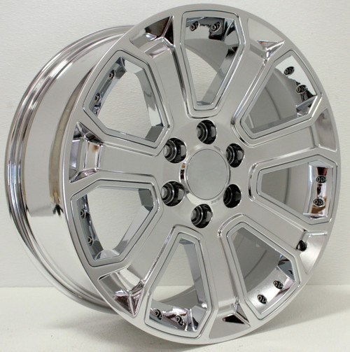 """Chrome 20"""" With Chrome Inserts Wheels for Chevy Silverado, Tahoe, Suburban - New Set of 4"""