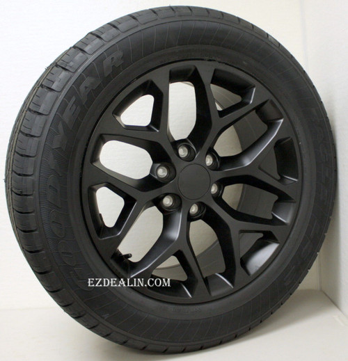 "New Set of 4 Satin Matte Black 20"" Snowflake Wheels with Goodyear Eagle LS2 Tires for Chevy Trucks or SUVs"