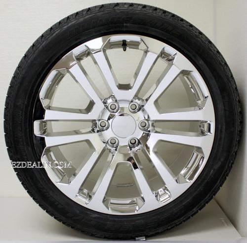 "Chrome 22"" Split Spoke Wheels with Bridgestone Tires for Chevy Silverado, Tahoe, Suburban - New Set of 4"