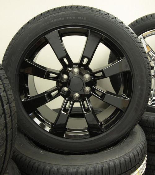 "New Set of 4 Gloss Black 22"" Eight Spoke Wheels with Bridgestone Dueler Alenza Tires for Chevy Trucks or SUVs"