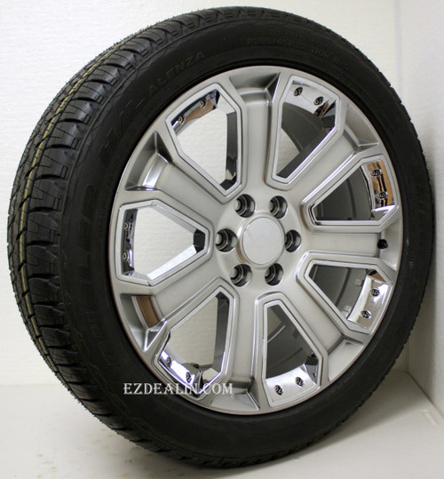 """New Set of 4 Hyper Silver 22"""" With Chrome Inserts Wheels with Bridgestone Dueler Alenza Tires for Chevy Trucks or SUVs"""