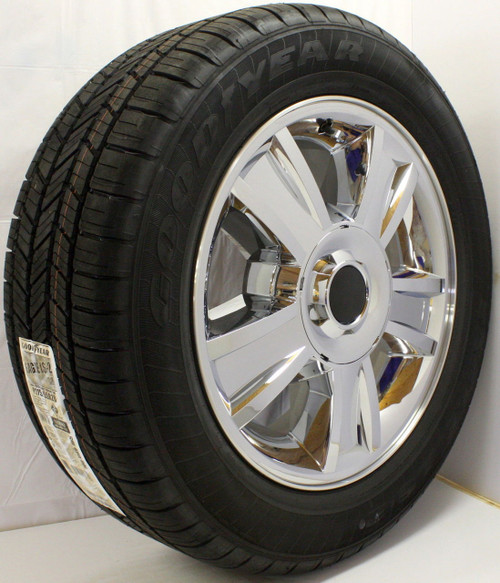 """New Set of 4 Chrome 20"""" Groved Spoke with Black Circle Center Caps Wheels with Goodyear Eagle LS2 Tires for Chevy Trucks or SUVs"""