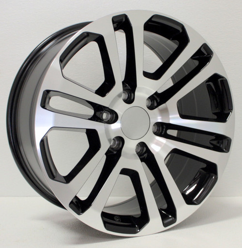 "Black and Machine 20"" Split Spoke Wheels for Chevy Silverado, Tahoe, Suburban - New Set of 4"