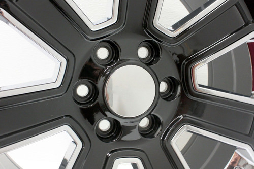"""Gloss Black 20"""" With Chrome Inserts Wheels for Chevy Silverado, Tahoe, Suburban - New Set of 4"""