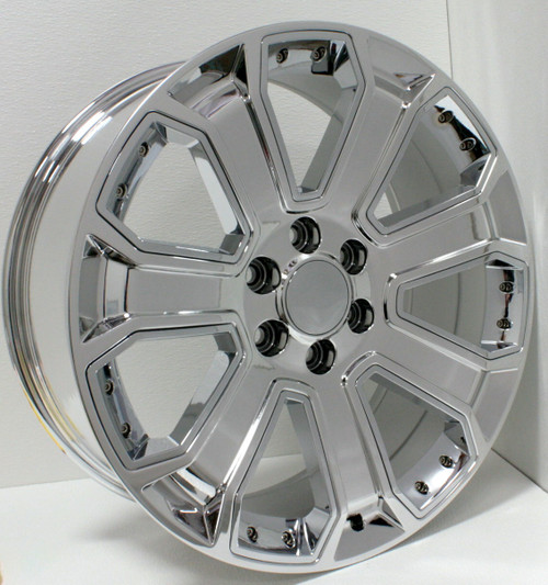 "Chrome 22"" With Chrome Inserts Wheels for Chevy Silverado, Tahoe, Suburban - New Set of 4"