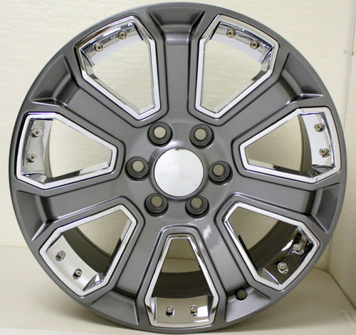 "Gunmetal 22"" With Chrome Inserts Wheels for Chevy Silverado, Tahoe, Suburban - New Set of 4"