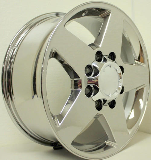 "Chrome 20"" 8 Lug 8x180 5 Spoke Wheels for 2011-2018 Chevy 2500 3500 - New Set of 4"