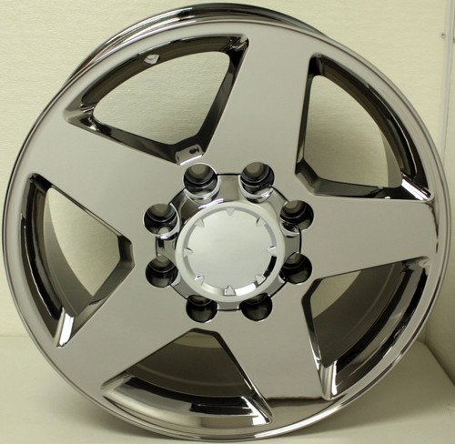 "New Set of 4 Chrome 20"" 8 Lug 8x180 5 Spoke Wheels for 2011-2018 Chevy 2500 3500"