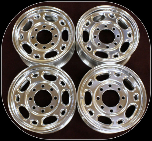 "Polished 16"" 8 Lug 8-165 Wheels for 2001-2010 Chevy and GMC 2500, 3500, Express or Savana Van - New Set of 4"