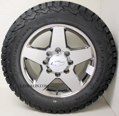 "Set of 4 20"" 8 Lug 8-180 Chrome Wheels With BFG A/T KO2 275/65/20 Tires for 2011-2018 Chevy Silverado HD 2500 3500"