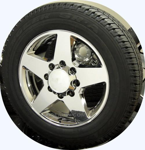 "Set of 4 Chrome 20"" 8 Lug 8-165 Wheels With Goodyear Tires for 2001-2010 Chevy Silverado HD 2500"