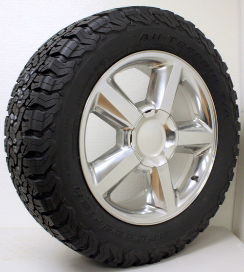 "Polished 20"" Old Style LTZ Wheels with BFG KO2 A/T Tires for Chevy Silverado, Tahoe, Suburban - New Set of 4"
