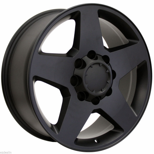 "Satin Matte Black 20"" 8 Lug 8-165 Wheels for 2001-2010 Chevy 2500 3500 - New Set of 4"