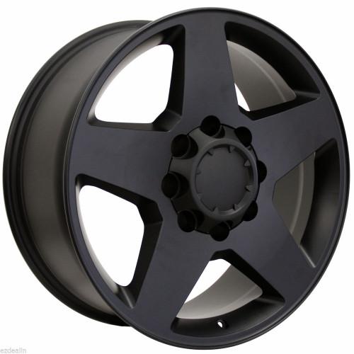 "Satin Matte Black 20"" 8 Lug 8-165 Wheels for 2001-2010 Chevy 2500 3500 - New Set of 4"