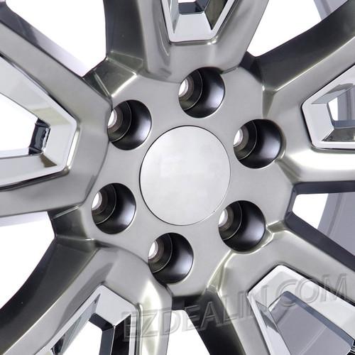 "Hyper Silver 20"" New V Style Chrome Inserts Wheels for GMC Sierra, Yukon, Denali - New Set of 4"