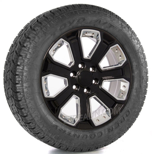 """New Set of 4 Gloss Black 20"""" With Chrome Inserts Wheels with Toyo A/T Tires for GMC Trucks or SUVs"""