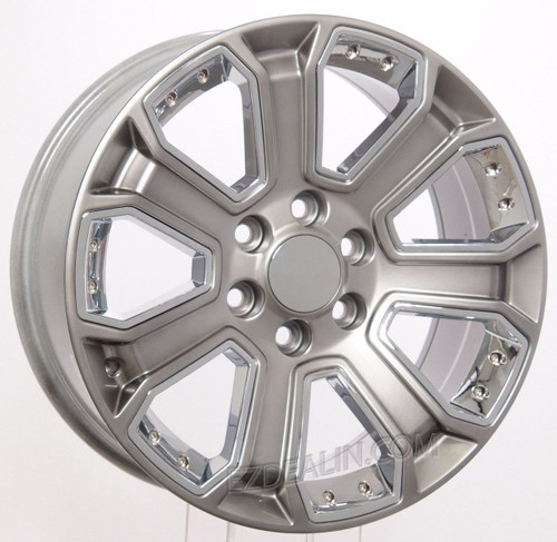 "Hyper Silver 20"" With Chrome Inserts Wheels for GMC Sierra, Yukon, Denali - New Set of 4"
