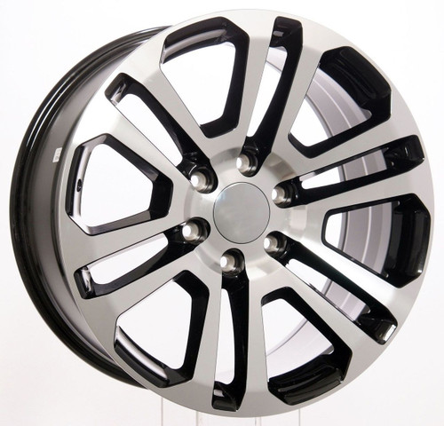 20 inch GMC split spoke with chrome center cap with red GMC with black outline