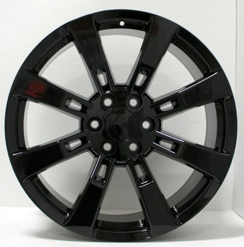 "Gloss Black 22"" Eight Spoke Wheels for GMC Sierra, Yukon, Denali - New Set of 4"