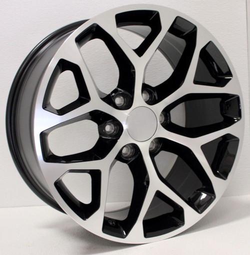 "New Set of 4 Black and Machine 22"" Snowflake Wheels for Chevy Silverado, Tahoe, Suburban"
