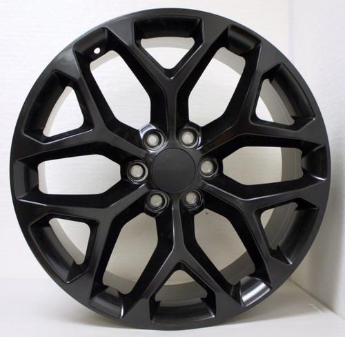 """Satin Matte Black 22"""" Snowflake Wheels for Chevy Silverado, Tahoe, Suburban - New Set of 4"""