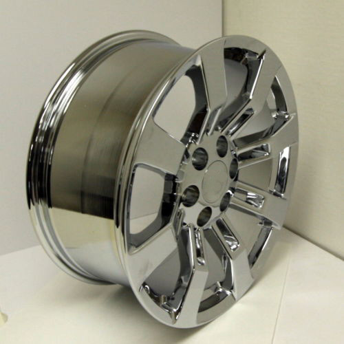 "Chrome 22"" Eight Spoke Wheels for Chevy Silverado, Tahoe, Suburban - New Set of 4"