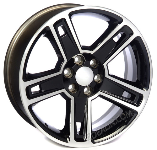 """New Set of 4 Black and Machine 22"""" Five Spoke Wheels for Chevy Trucks or SUVs"""