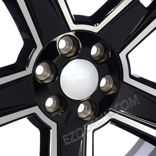 "Black and Machine 22"" Five  for Chevy Silverado, Tahoe, Suburban - New Set of 4"