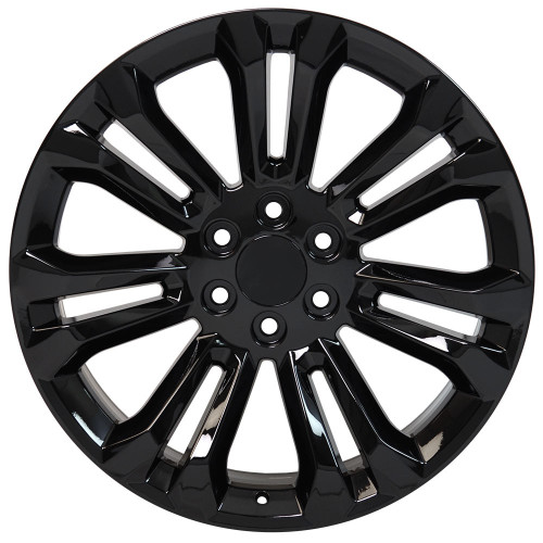 "Gloss Black 22"" New Style Split Spoke Wheels for Chevy Silverado, Tahoe, Suburban - New Set of 4"