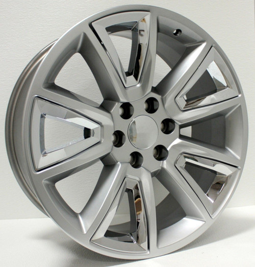 """Hyper Silver 22"""" With V Style Chrome Inserts Wheels for Chevy Silverado, Tahoe, Suburban - New Set of 4"""