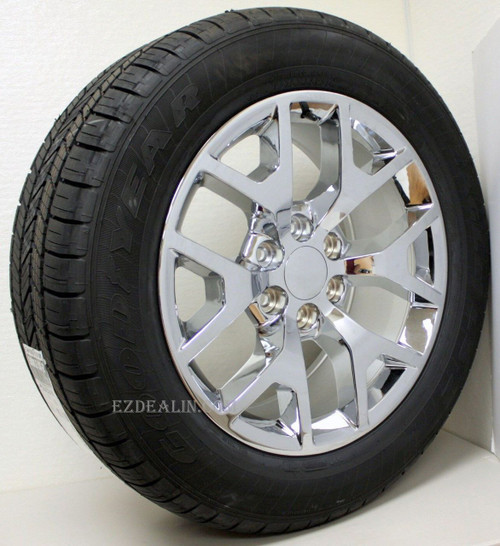 "Chrome 20"" Honeycomb Wheels with Goodyear Tires for GMC Sierra, Yukon, Denali - New Set of 4"