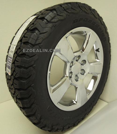 "Chrome 20"" New Style LTZ Wheels with BFG KO2 A/T Tires for GMC Sierra, Yukon, Denali - New Set of 4"