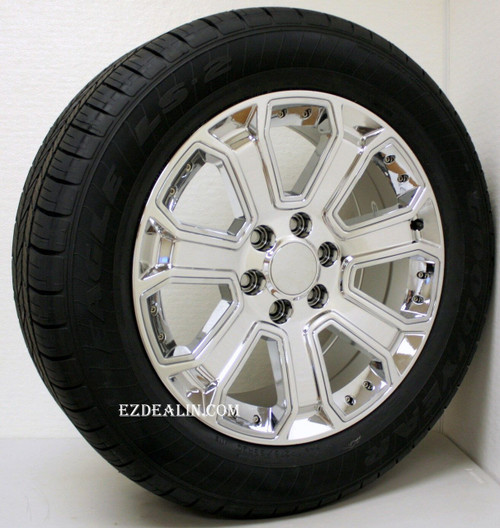 "Chrome 20"" with Chrome Inserts Wheels with Goodyear Tires for GMC Sierra, Yukon, Denali - New Set of 4"