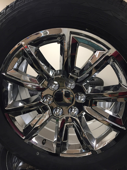 "Chrome 20"" With V Style Chrome Inserts Wheels with Bridgestone Tires for GMC Sierra, Yukon, Denali - New Set of 4"