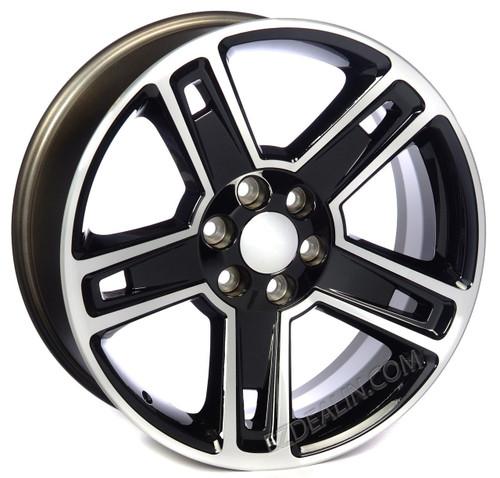 "New Set of 4 Black and Machine 22"" Five Spoke Wheels for GMC Trucks or SUVs"
