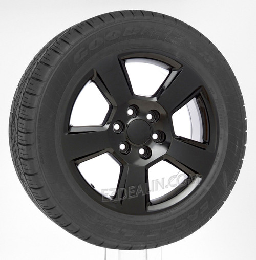 """Gloss Black 20"""" New Style LTZ Wheels with Goodyear Tires for Chevy Silverado, Tahoe, Suburban - New Set of 4"""