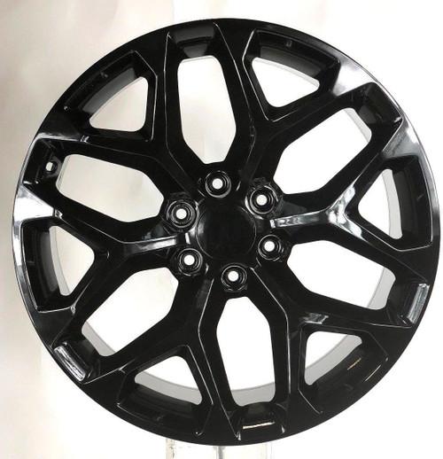 """Gloss Black 20"""" Snowflake Wheels for Chevy Silverado, Tahoe, Suburban - New Set of 4"""