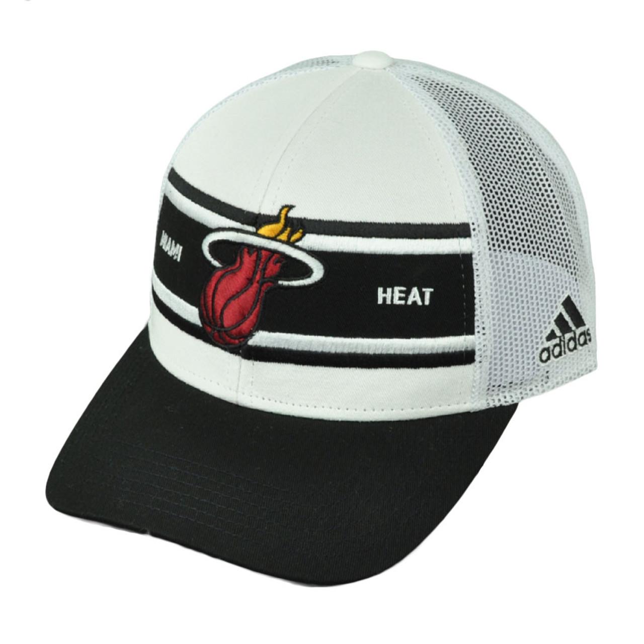 f87a9005cd1 Miami Heat Adidas White Black Mesh Snapback NZM06 Hat Cap Basketball Curved  Bill