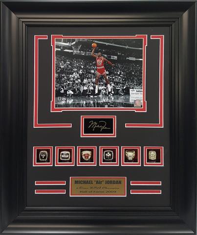 NBA Chicago Bulls Michael Jordan 23 Six Championship Rings 21x25 Frame