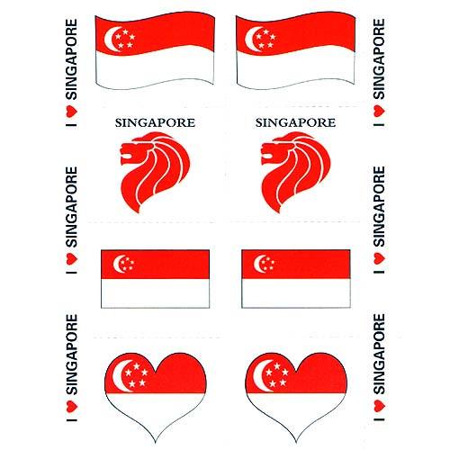 I love singapore flag tattoo 1 sheet