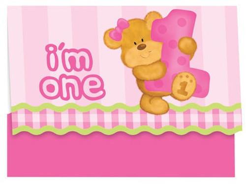 Bears 1st birthday girl invitation cards envelopes 8pcspack bears 1st birthday girl invitation cards envelopes stopboris Choice Image