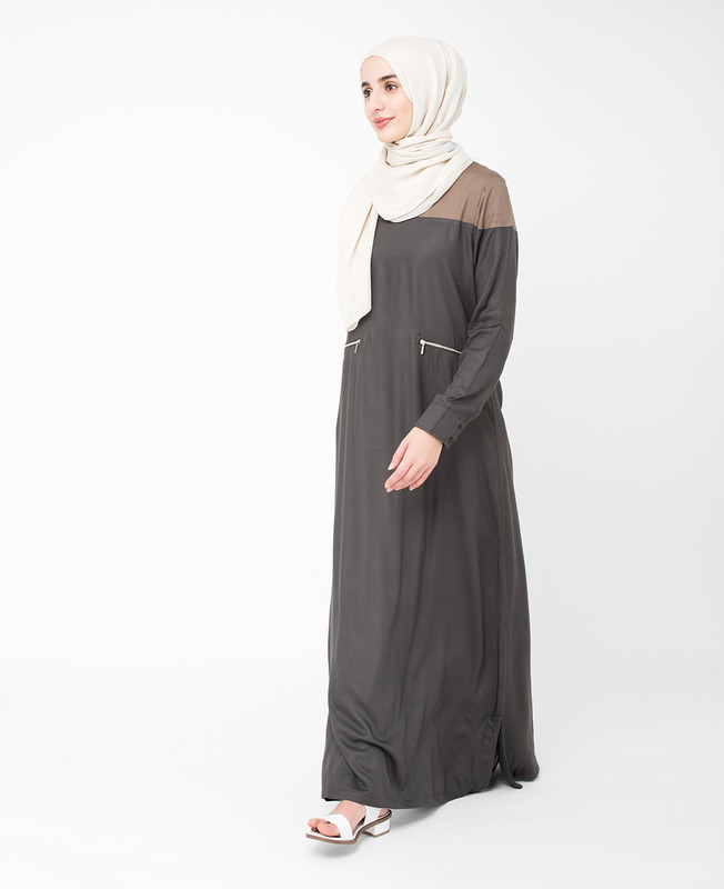 Black Colour Block Jilbab