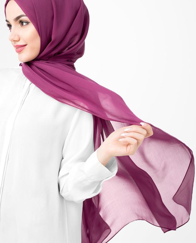 Magenta Purple PolyChiffon Hijab