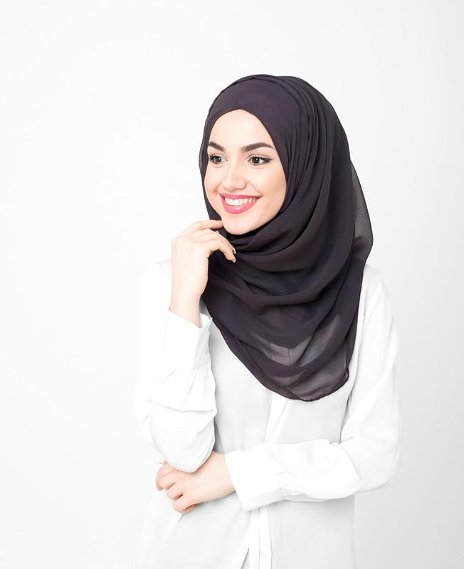 Jet Black Pinless PolyChiffon Hijab