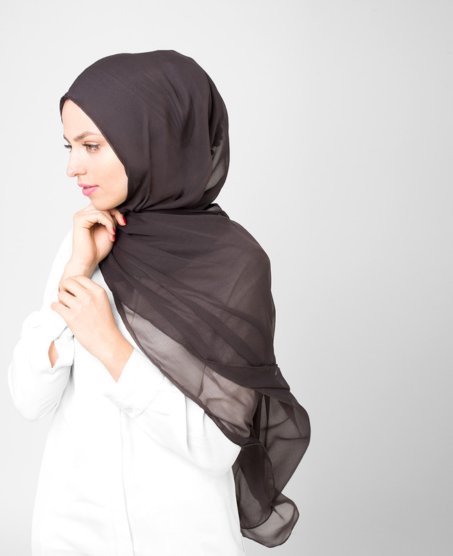 Turkish Coffee Brown Pinless PolyChiffon Hijab