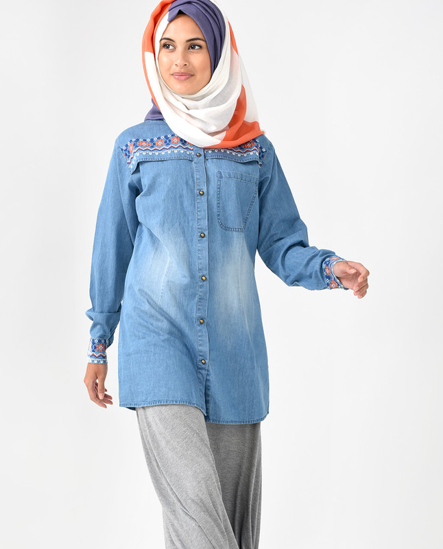 Blue Denim Long Line Shirt