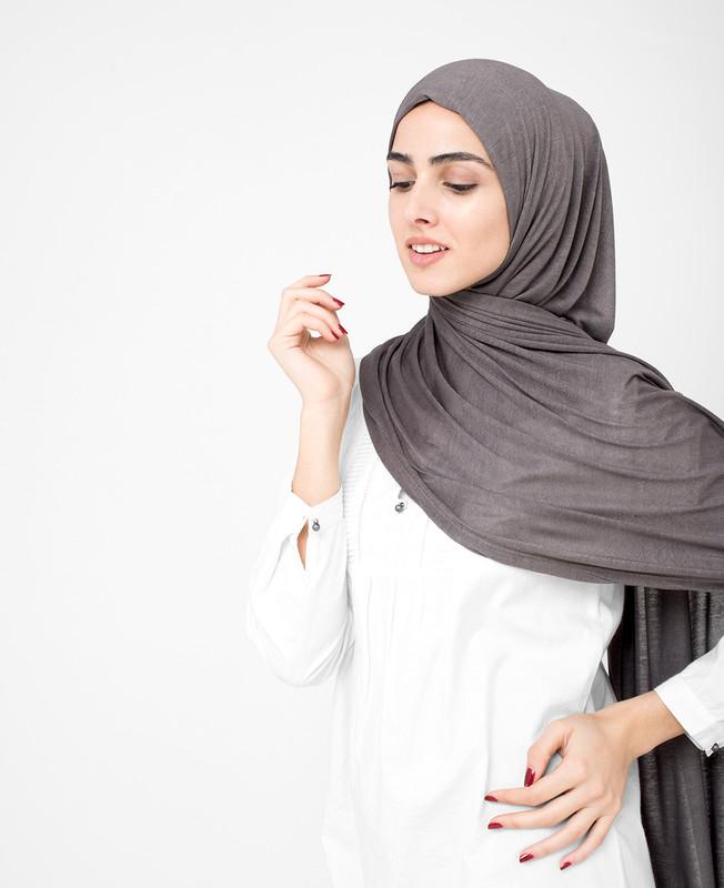 Charcoal Grey Viscose Jersey Hijab
