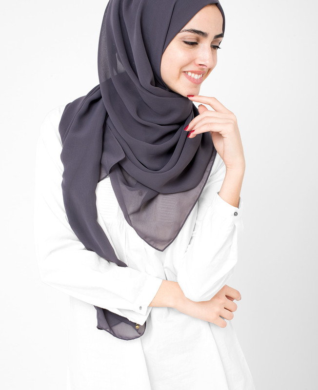 Excalibur Blue Poly Georgette Hijab